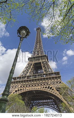 Lantern next to the Eiffel Tower. Early April Paris.