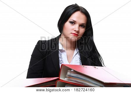 Beautiful Woman With Folders