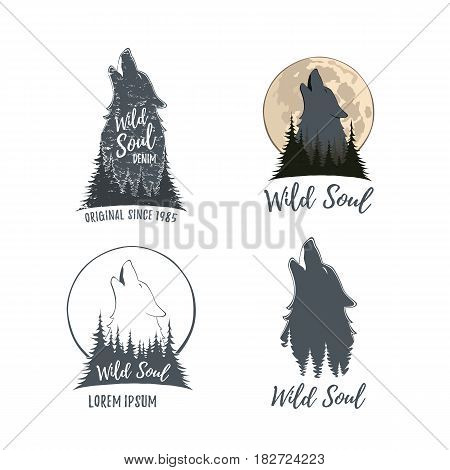 Set of four wolf howling on the moon in the forest. Logo templates isolated on white background. Vector illustration.