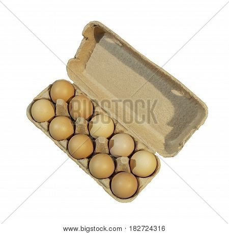Carton package, Ten brown eggs in a carton package isolated on white