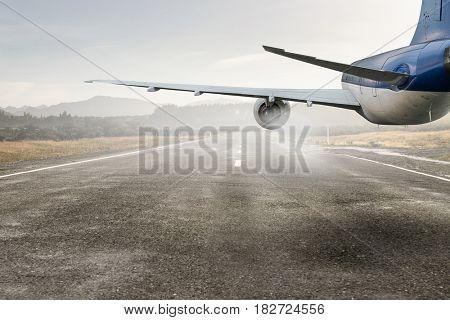Airplane over runway. Mixed media . Mixed media