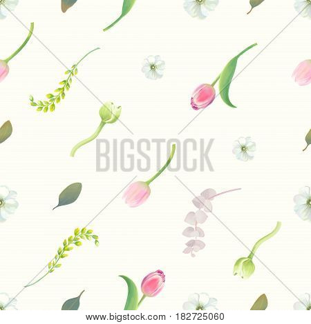 Gorgeous seamless pattern with floral elements, flower buds, inflorescences and green leaves against white background. Endless botanical backdrop. Vector illustration in retro style for fabric print