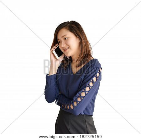 Business Asian Woman Phoning Solated On White Background, Clipping Path Inside