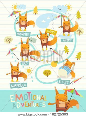 Funny fox with colorful umbrella expressing different emotions. Cartoon character s facial expressions. Emotional intelligence development concept. Vector illustration for banner, poster, website