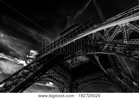 Black and white View of the Eiffel tower in Paris. Paris beautiful destinations in Europe