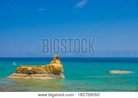 Sidary landscape with the soft rock erosion  on the Corfu island Greece.