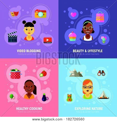 Women Hobbies And Career Banners With Flat Girls Icons.
