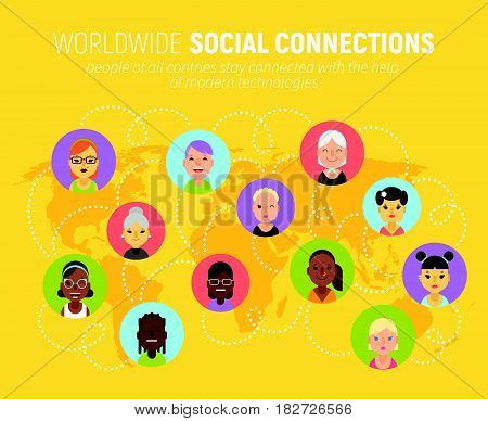 Women Icons And Social Network Community Concept On A World Map