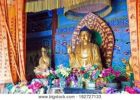 Henan, China - Nov 04 2015: Budda Statues At Yongtai Temple. A Famous Historic Site In Dengfeng, Hen