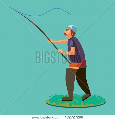 Fisherman in rubber boots throws a fishing rod with a line and crocheted into the water for fly-fishing, character man catches fish standing off shore with spin vacation concept vector illustration.