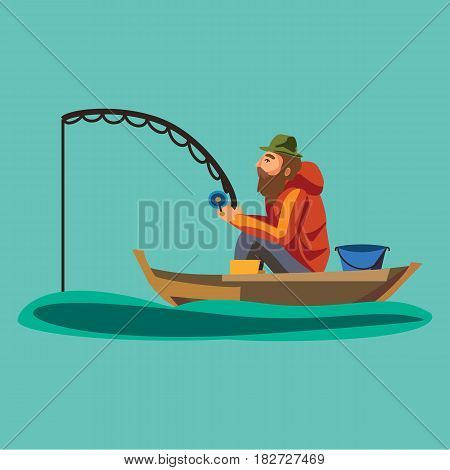 Flat fisherman hat sits on boat with trolling fishing rod in hand and catches bucket, Fishman crocheted spin into the sea waiting big fish funny vector illustration, Man active banner concept