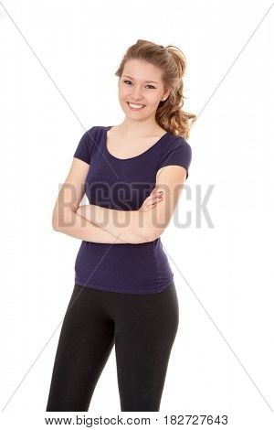 Attractive woman in sports wear. All on white background.