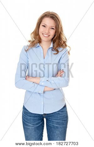 Attractive woman. All on white background.