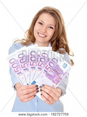 Young woman holding lots of cash in euro. All on white background.