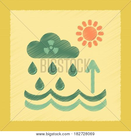 flat shading style icon nature Radioactive cloud and rain