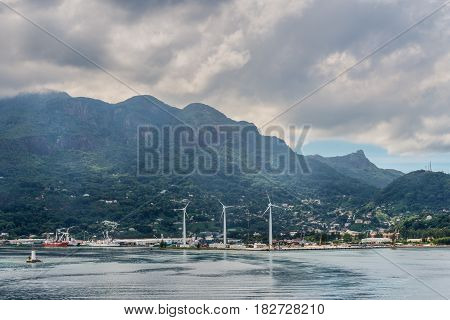 Victoria Mahe island Seychelles - December 17 2015: Panoramic view of the Port Victoria harbor Mahe island Seychelles Indian Ocean East Africa.