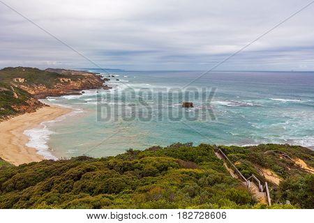 Mornington Peninsula Ocean Coastline Near Sorrento Ocean Beach At Dusk. Mornington Peninsula, Melbou