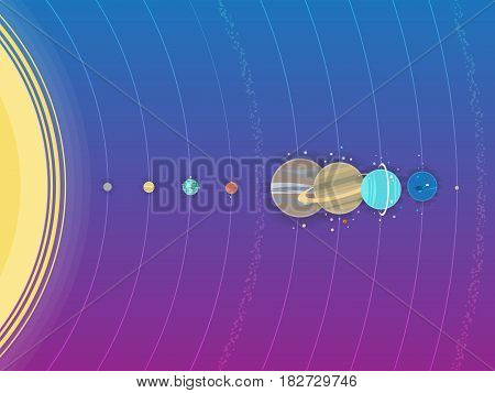Solar system icon illustration, planets in space, flat style