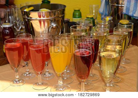 Selection of different aperitifs - close-up of alcohol and party
