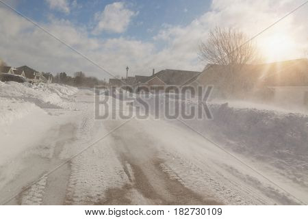 Snow storm in a North American suburb.