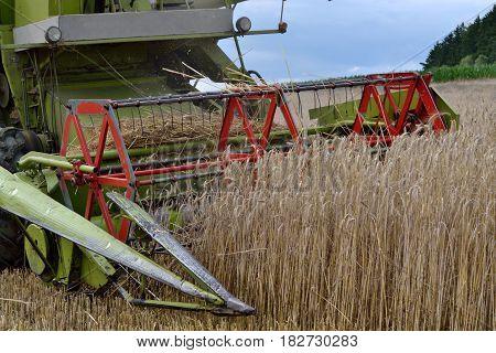 Small combine harvests good grain - closeup