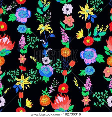 Vector Rustic Flowers Seamless Pattern Bright Spring Bouquet Hand Drawn Vibrant For