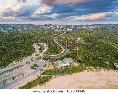 Aerial View Of Sorrento Back Beach With Winding Road And All Smiles Sorrento Ocean Beach Wedding Ven