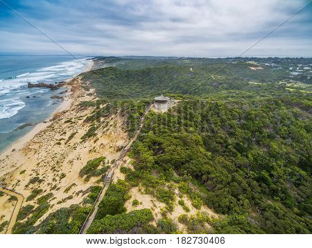 Aerial View Of Long Wooden Stairs Leading To Coppins Lookout Gazebo At Sorrento Ocean Beach. Morning