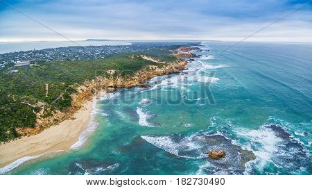 Aerial Panorama Of Sorrento Back Beach And Coastline. Mornington Peninsula, Melbourne, Australia.