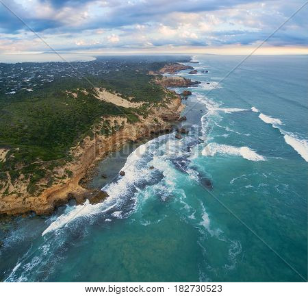 Aerial View Of Sorrento Back Beach And Coastline At Sunrise. Mornington Peninsula, Melbourne, Austra