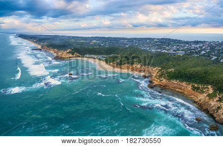 Aerial Panoramic View Of Sorrento Ocean Beach And Beautiful Coastline In The Morning. Mornington Pen