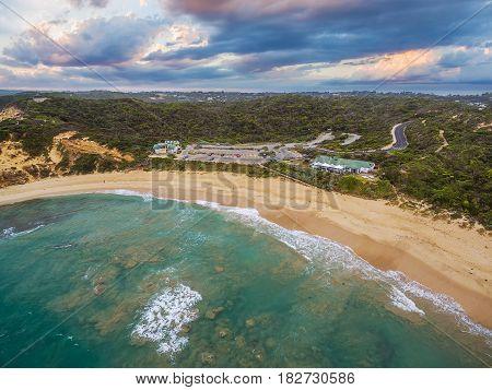 Aerial Landscape Of Sorrento Back Beach And All Smiles Wedding Venue. Mornington Peninsula, Melbourn