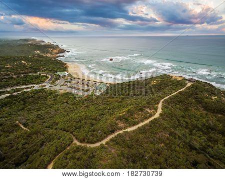 Aerial View Of Sorrento Ocean Beach And Beautiful Coastline At Sunset. Mornington Peninsula, Melbour