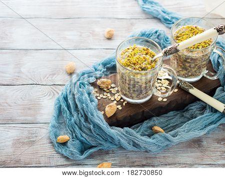 Chia Oat Pudding With Quinoa, Banana, Pistachio