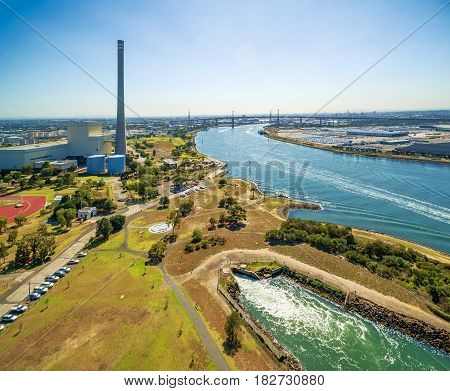 Aerial View Of Newport Power Station, West Gate Bridge, And Yarra River At High Noon. Melbourne, Vic