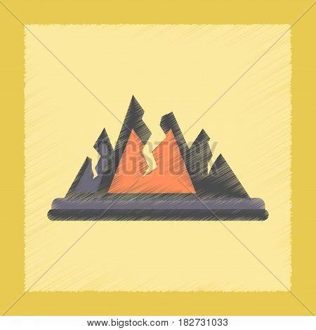 flat shading style icon nature cracks mountains