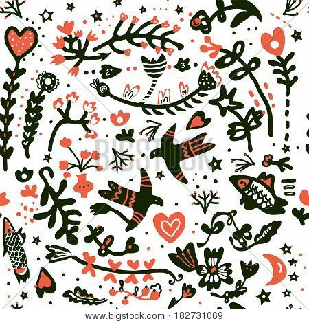 Floral romantic seamless pattern for the wedding or Valentine's day - vector illustration
