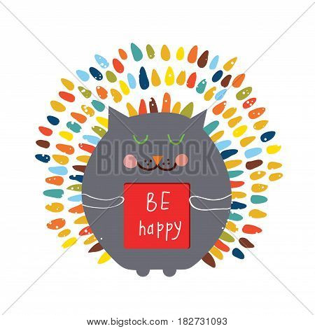 Happy card with funny cat - vector graphic illustration