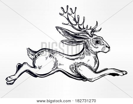 Jacalope magical creature running or jumping, horned rabbit in American folklore. For tattoo, t-shirt, fantasy card, poster idea. Ethnic design, mystic tribal boho symbol. Isolated vector illustration