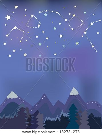 Night landscape with mountains and trees for banner or tourism card vector graphic illustration