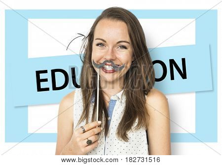 Woman Holding Mustache Social Media