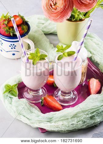 Strawberry Milk Shake Summer Breakfast