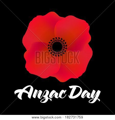 Vector illustration of a bright poppy flower. Remembrance day symbol. Anzac day Australia. Anzac day New Zealand.