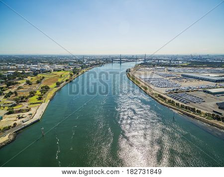 Aerial View Of Yarra River, West Gate Bridge, And Melbourne International Roll On Roll Off Automotiv