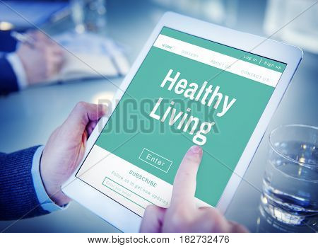 Hands searching healthy living on tablet