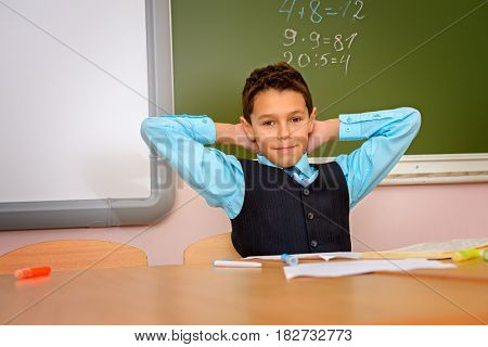Portrait of a schoolboy studying during the lesson at school. Educational concept.