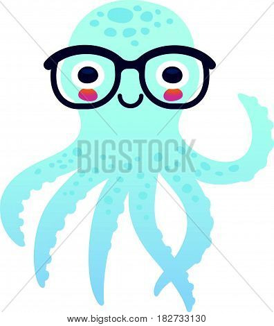 Vector illustration adorable octopus character wearing glasses