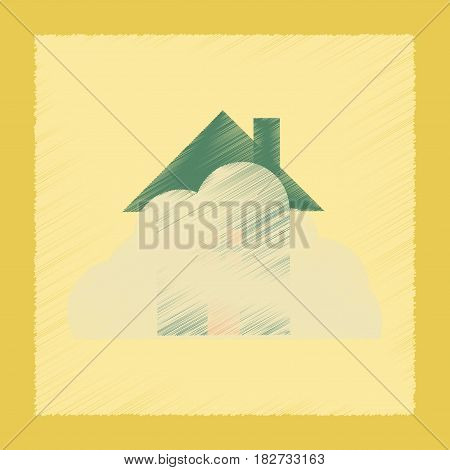 flat shading style icon nature House covered with snow