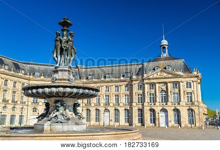 Fountain of the Three Graces at on the Place de la Bourse in Bordeaux - France, Aquitaine