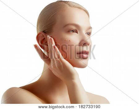 Beautiful Young Woman With Clean Fresh Skin Touch Her Face. Facial Treatment. Cosmetology, Skin Care